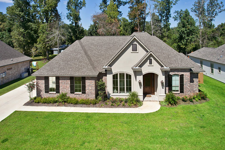 single family home aerial front view