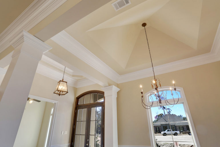 single family home ceiling detailed dining chandelier