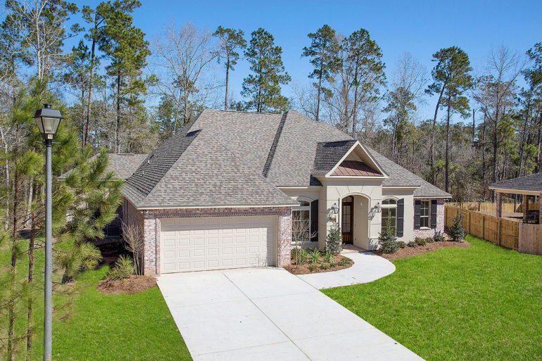 single family home aerial view front